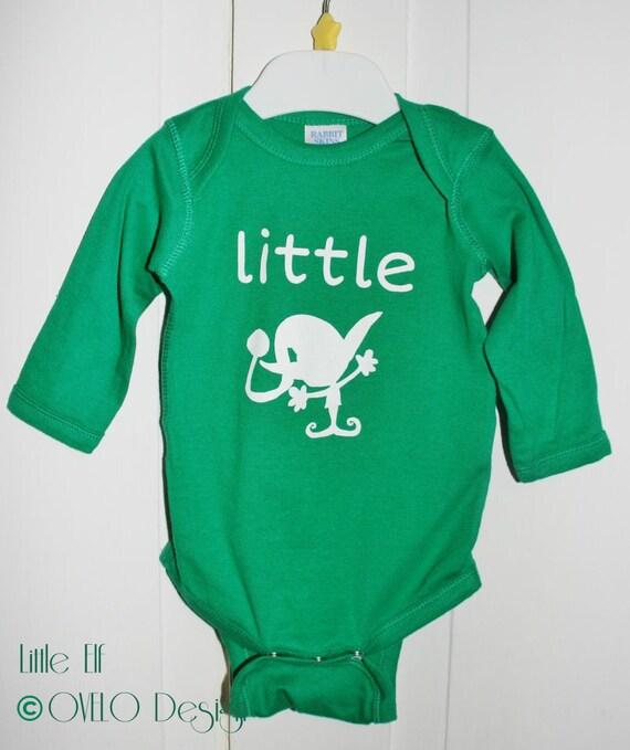 Christmas Little Elf Baby Onesie Long Sleeve in Kelly Green