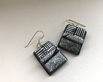Dichroic glass earrings. Fused glass silver and black shimmering dichroic fused glass dangle earrings with sterling silver ear wires