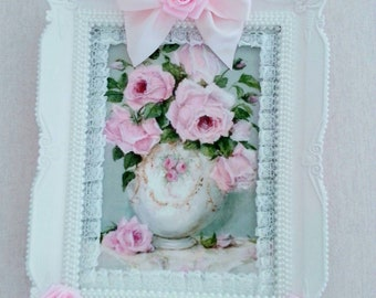Pink cottage chic shabby frame