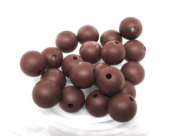 10 pearls 12mm - chocolate Silicone
