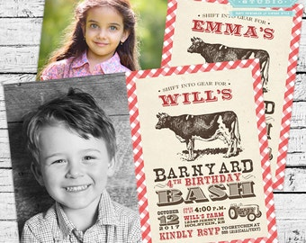 Vintage Barnyard Bash Photo Invitation PLUS Matching Thank You Note