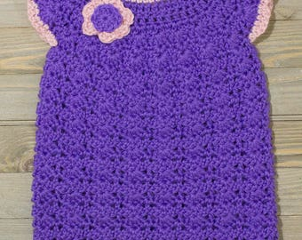 Crocheted Baby Dress - Baby Girl's Crocheted Vivid Purple and Pink Shift Flower Dress