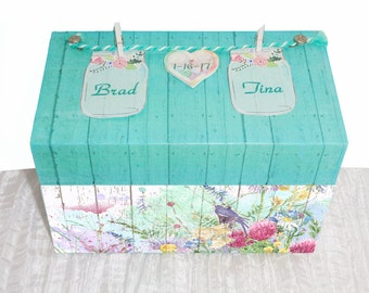 Wedding Recipe Box Shabby Chic Mason Jar Floral Garden Personalized