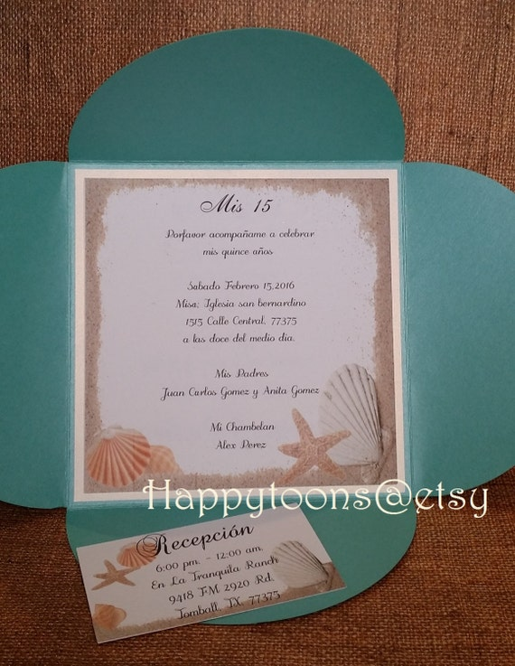 Beach theme Quinceaera invitation Sea theme invitation Sea