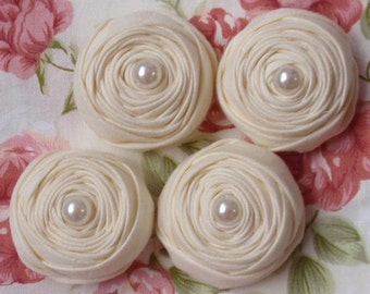 4 Handmade Fabric Rolled Rose (1.5  inches) in Lt  yellow  MY-075-02  Ready To Ship