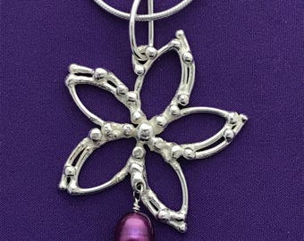 Handcrafted Clematis Flower Pendant - Botanical Jewelry - Botanical Jewelry With Pearls -  Purple Pearls - Magenta Pearls - Floral Pendant