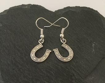 Lucky horseshoe earrings / horseshoe jewellery / animal earrings / animal jewellery / animal lover gift