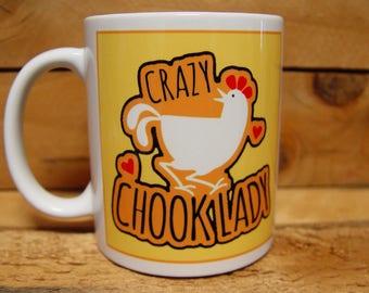 300ml Coffee Mug - CRAZY CHOOK LADY - Yellow
