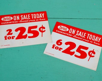 Vintage Rexall Drug Store Signs Price Tags Advertising Red White Paper Ephemera Set of 2 Two Crafts Collage Art Scrapbooking