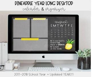 Pineapple Desktop Organizer | Desktop Calendar, Desktop Organizer, Desktop Wallpaper, Pineapple, Classroom Decor, Wallpaper, Teacher Tool
