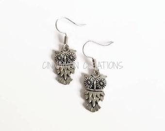 Owl Earrings, Silver Owl Earrings (Tiny)