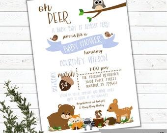 Woodland Invitation, Woodland Baby Shower Invitation, Woodland Animals Invitation, Baby Shower Invitation, Woodland Theme, Printed, Digital