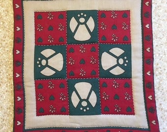 1970s Vintage Hand Stitched Quilted Square Wall Hanging - Christmas Angels - Cute Farmhouse Shabby Chic Decor - Red, Green, Holiday