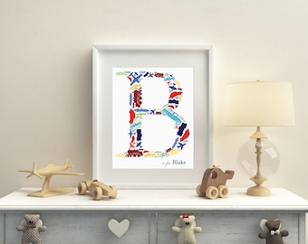 Custom Monogram Print: Trains, Planes and Automobiles/Planes Trains and Cars Monogram/Things that Go Nursery Art/Things that Go Monogram