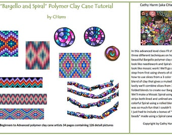 Bargello and Spiral polymer clay cane tutorial by CHarm