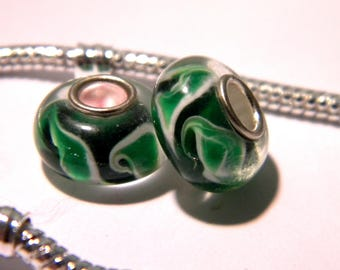 bead charm European - murano glass - - 14 x 8 mm - Green Wave - F198