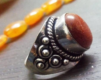 10 % OFF! SALE! Goldstone 925 sterling silver Overlay Ring ,Beautiful Partywear ring, gemstone ring