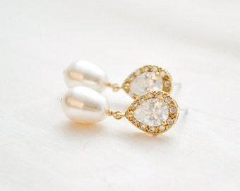 Bridal Earrings Gold Pearl and Crystal, Pearl Wedding Earrings Gold, Bridal Jewelry Gold Earrings