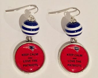 Keep Calm and Love the Patriots Earrings