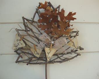 Maple leaf wreath rustic twig Fall sign home decor farmhouse wall hanging wreath leaf natural decorations cottage chic Thanksgiving decor