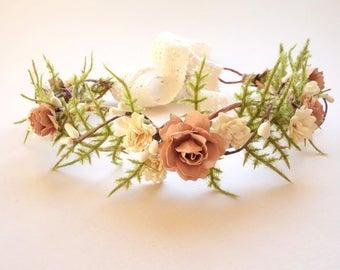 Flower Girl Crown, Blush Wedding, Bridal Flower Crown, Simple Flower Crown, Maternity Photo Shoot, Fern Crown DUSTY ROSE