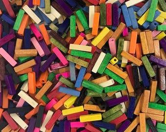 125 pcs - Wood Bead Mix (Rectangle) 4x16MM