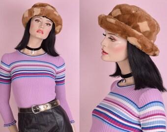 90s Tan Diamond Pattern Faux Fur Hat