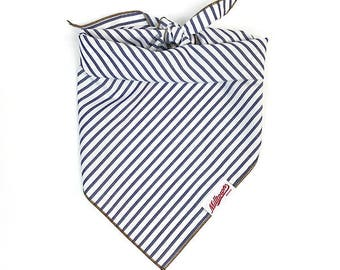 Dog Bandana - White with Navy Stripes