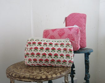 Pink Wash Bags Hand Block Printed on Organic Cotton