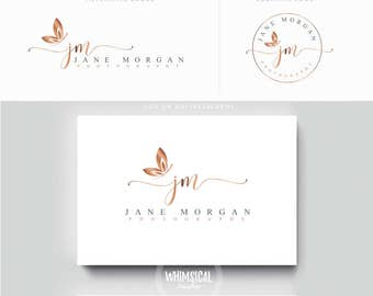 minimal script butterfly Photographer logo kit Initials Photographer wedding boutique feminine cute elegant fashion business cards banner