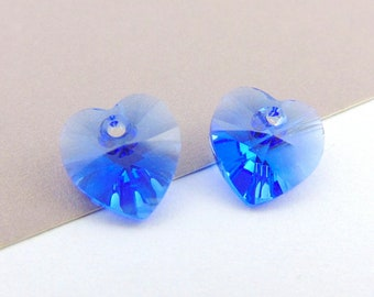 2 Sapphire Crystal Heart Beads, Swarovski Heart Crystals, September Birthstone Beads, 10mm Blue Heart Glass Beads, Earring Findings