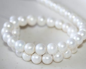 Freshwater Pearl 6-7mm Round Shape 11.5 inches Strand, Pale White, Loose pearls, Cultured Pearls