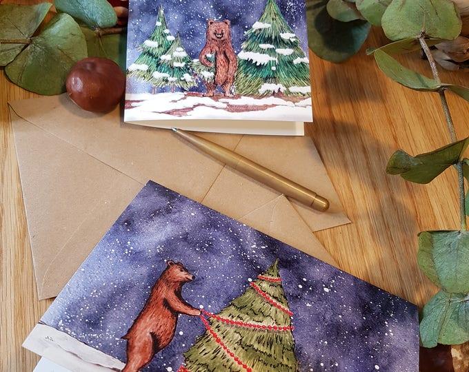 Set van 6 kerstkaarten met vouw, 2 soorten 10x15 cm + envelop