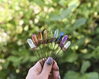 Chakra Crystal Hair Pins, Raw Rainbow Quartz Hair Pin, Bridal Accessories, Wedding Hair Accessories