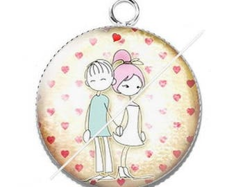 Pendant cabochon resin love couple Valentine's day 1