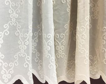 Sheer Fabric - Polyester Patterned Sheer Panel - White or Champagne Sheer  - Leafy Vine Pattern - Singed Flower Fabric - P20 - 1 Panel