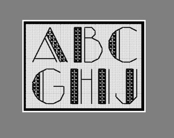Cross stitch alphabet: art deco style lettering