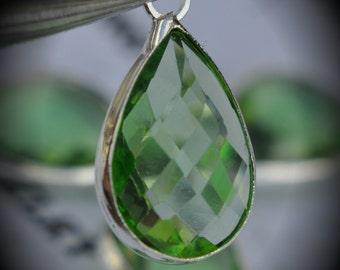 Silver Plated Bezel Brass Faceted Glass Tear Drop Pendant - Light Green