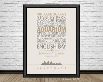 Vancouver, Travel Print, Vancouver Sightseeing, Famous Places, Travel Destinations, Vacation, Honeymoon, City Prints, Gift for Couples
