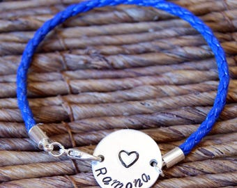 Couples Bracelet, Personalized Bracelet, Engraved Bracelet, Hand Stamped, Name Bracelets, Aluminum Bracelet, Coin,  Boyfriend Gift