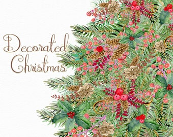 Christmas tree clipart, rustic holiday tree, watercolor clipart, evergreen tree, spruce tree clipart, holiday clipart, decorated tree png