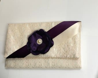 Wedding bridesmaid gift lace Clutch purse ivory or white color With dark purple