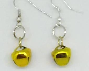 Gold Jingle Bell Mardi Gras Earrings