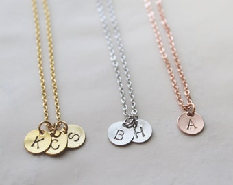 Gold Initial Necklace / Bridesmaid Gift / Rose Gold Disc Initial Necklace / Silver Hand Stamped Initial / Mothers Necklace / Mommy Jewelry