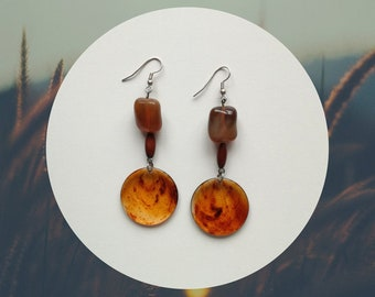 Pendant earrings, brown gemstone earrings, carnelian earrings
