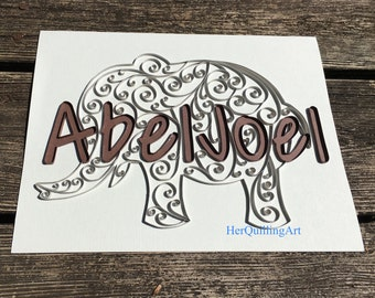 Custom Quilled Nursery/Room Name - Paper Quilled Art 8.5x11
