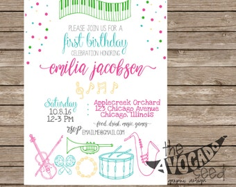Music Birthday (or any event) Invitation - DIY Printing or Professional Prints