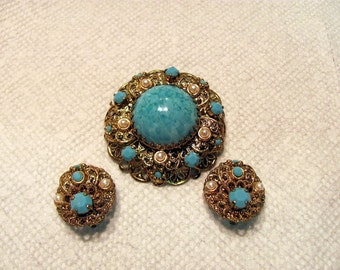 West German Brooch and Matching Earrings / Turquoise and Pearl Brooch with Matching Earrings from West Germany
