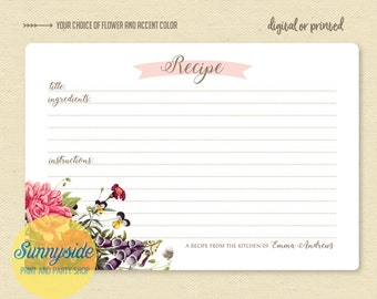Personalized recipe card // printable or printed cards // you choose flower! // 3x5 or 4x6 size // recipe gift // vintage floral collection