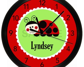 Personalized Red and Green Girls Wall Clock